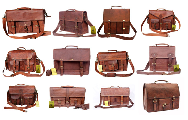 LEATHER LAPTOP BRIEFCASE MESSANGER SATCHEL BAG