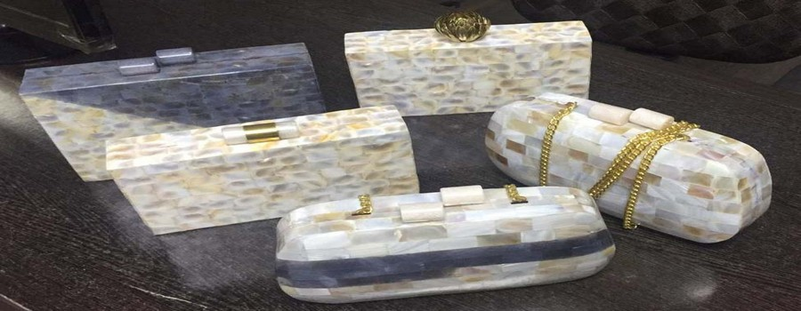 MOTHER OF PEARL CLUTCH BAG